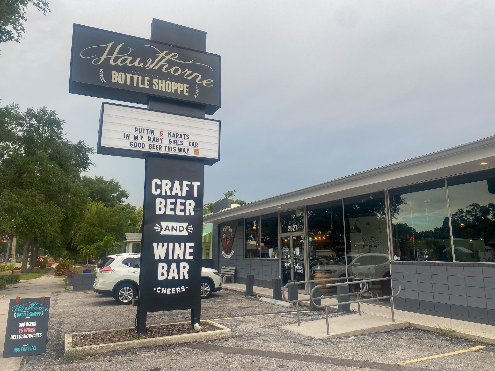 The exterior of Hawthorne Bottle Shoppe
