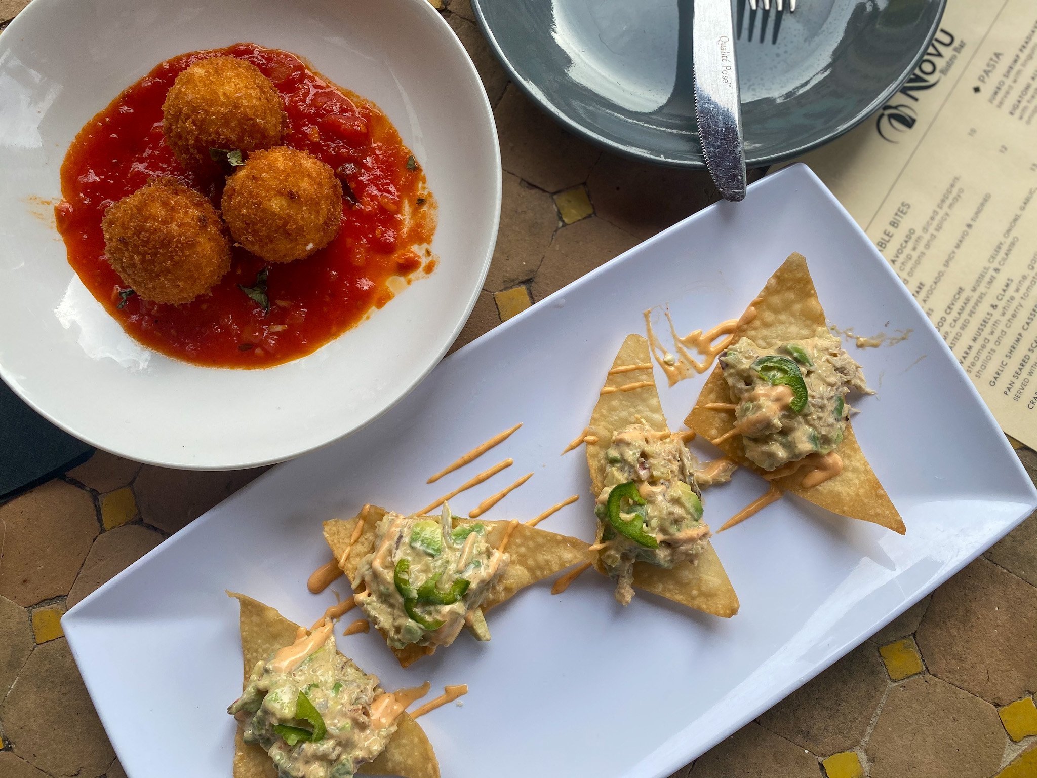 Goat Cheese Fritters and the Crab and Avocado appetizer