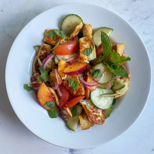 Peach, Tomato and Cucumber Salad with Seared Halloumi