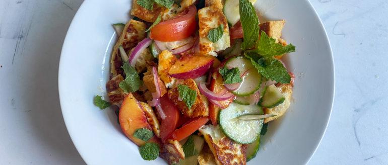 Peach, Tomato and Cucumber Salad with Seared Halloumi Recipe