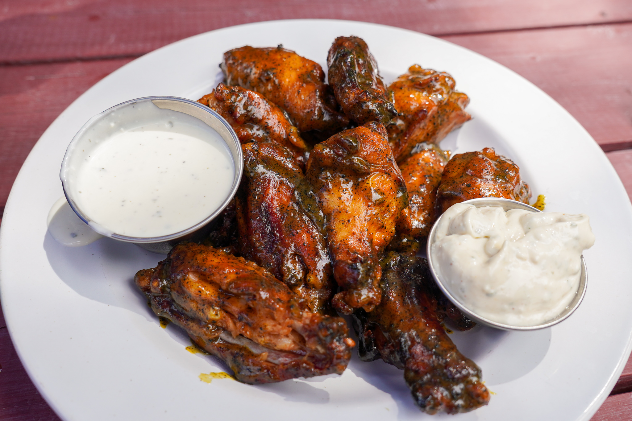 Mullet's Signature Smoked Wings House Merman Sauce Close Up