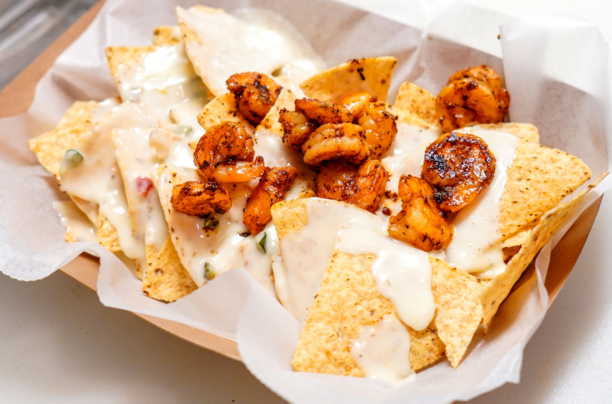 Nachos with Queso & Shrimp (Photo by Haley Haman)