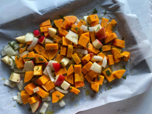 Squash, apple, and onion ready to hit the oven
